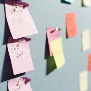 Planning with post notes to be consistent with social media Credit to Patrick Perkins via Unsplash